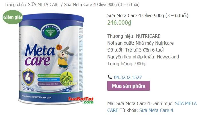 sữa meta care hướng dẫn mua hàng